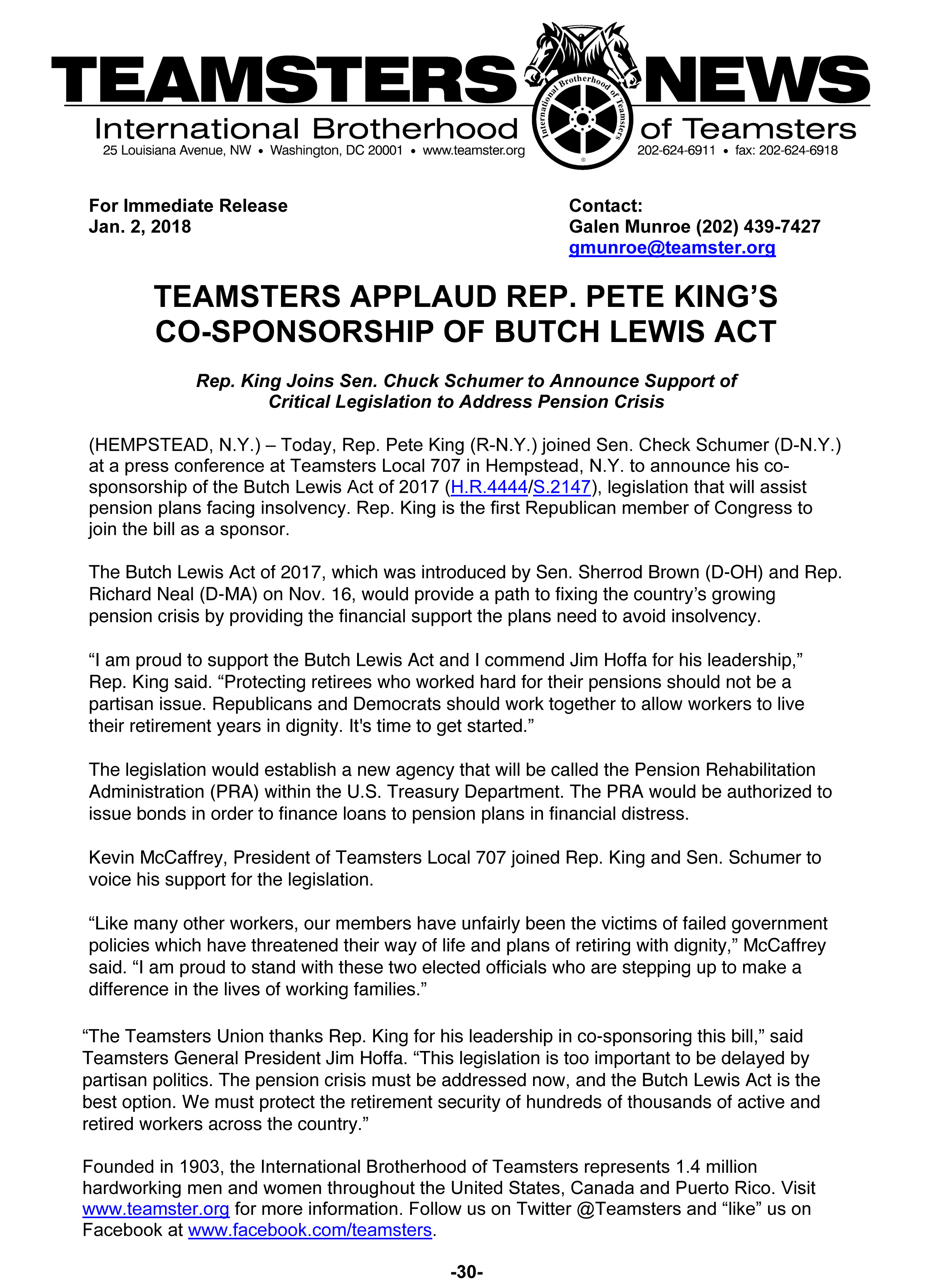 New York Rep. King-Supports_Butch_Lewis_Act